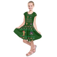 We Wish You A Metroid Christmas Ugly Holiday Christmas Green Background Kids  Short Sleeve Dress