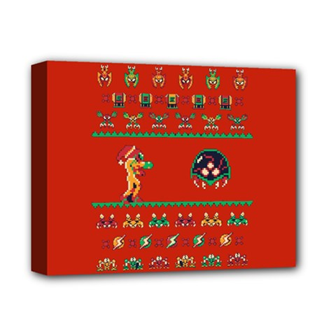 We Wish You A Metroid Christmas Ugly Holiday Christmas Red Background Deluxe Canvas 14  X 11