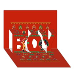 We Wish You A Metroid Christmas Ugly Holiday Christmas Red Background Boy 3d Greeting Card (7x5)