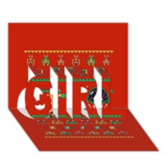 We Wish You A Metroid Christmas Ugly Holiday Christmas Red Background Girl 3d Greeting Card (7x5)