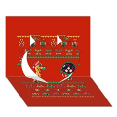 We Wish You A Metroid Christmas Ugly Holiday Christmas Red Background Heart 3d Greeting Card (7x5)
