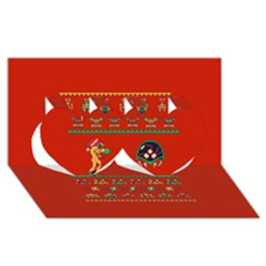 We Wish You A Metroid Christmas Ugly Holiday Christmas Red Background Twin Hearts 3d Greeting Card (8x4)