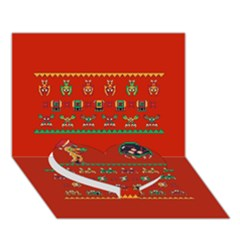 We Wish You A Metroid Christmas Ugly Holiday Christmas Red Background Heart Bottom 3d Greeting Card (7x5)