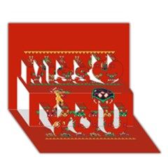 We Wish You A Metroid Christmas Ugly Holiday Christmas Red Background Miss You 3d Greeting Card (7x5)