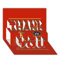 We Wish You A Metroid Christmas Ugly Holiday Christmas Red Background THANK YOU 3D Greeting Card (7x5)
