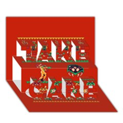We Wish You A Metroid Christmas Ugly Holiday Christmas Red Background TAKE CARE 3D Greeting Card (7x5)