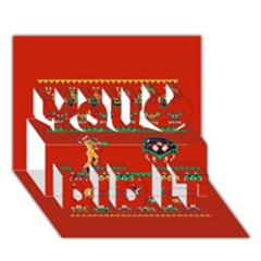 We Wish You A Metroid Christmas Ugly Holiday Christmas Red Background You Did It 3d Greeting Card (7x5)