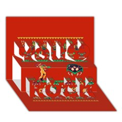 We Wish You A Metroid Christmas Ugly Holiday Christmas Red Background You Rock 3d Greeting Card (7x5)