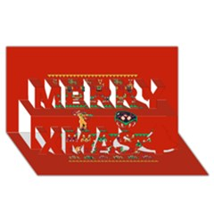 We Wish You A Metroid Christmas Ugly Holiday Christmas Red Background Merry Xmas 3D Greeting Card (8x4)