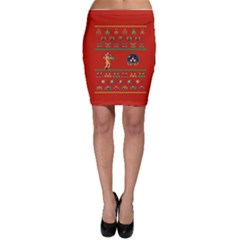 We Wish You A Metroid Christmas Ugly Holiday Christmas Red Background Bodycon Skirt