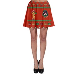 We Wish You A Metroid Christmas Ugly Holiday Christmas Red Background Skater Skirt