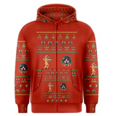 We Wish You A Metroid Christmas Ugly Holiday Christmas Red Background Men s Zipper Hoodie
