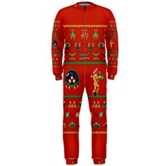 We Wish You A Metroid Christmas Ugly Holiday Christmas Red Background Onepiece Jumpsuit (men)