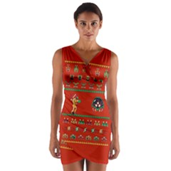 We Wish You A Metroid Christmas Ugly Holiday Christmas Red Background Wrap Front Bodycon Dress