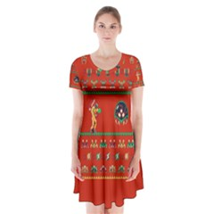 We Wish You A Metroid Christmas Ugly Holiday Christmas Red Background Short Sleeve V-neck Flare Dress