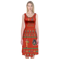 We Wish You A Metroid Christmas Ugly Holiday Christmas Red Background Midi Sleeveless Dress