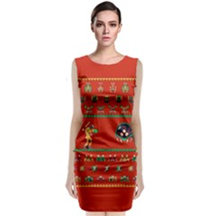 We Wish You A Metroid Christmas Ugly Holiday Christmas Red Background Classic Sleeveless Midi Dress