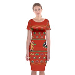 We Wish You A Metroid Christmas Ugly Holiday Christmas Red Background Classic Short Sleeve Midi Dress