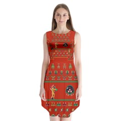 We Wish You A Metroid Christmas Ugly Holiday Christmas Red Background Sleeveless Chiffon Dress