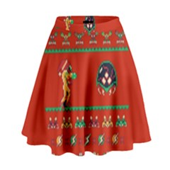 We Wish You A Metroid Christmas Ugly Holiday Christmas Red Background High Waist Skirt
