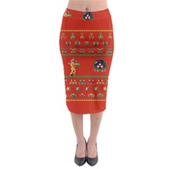 We Wish You A Metroid Christmas Ugly Holiday Christmas Red Background Midi Pencil Skirt