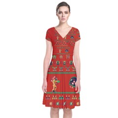 We Wish You A Metroid Christmas Ugly Holiday Christmas Red Background Short Sleeve Front Wrap Dress