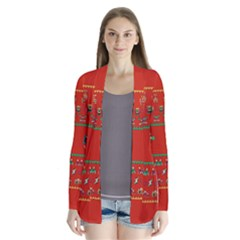 We Wish You A Metroid Christmas Ugly Holiday Christmas Red Background Drape Collar Cardigan