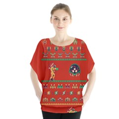 We Wish You A Metroid Christmas Ugly Holiday Christmas Red Background Blouse