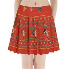 We Wish You A Metroid Christmas Ugly Holiday Christmas Red Background Pleated Mini Skirt