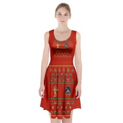 We Wish You A Metroid Christmas Ugly Holiday Christmas Red Background Racerback Midi Dress