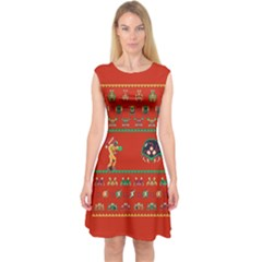 We Wish You A Metroid Christmas Ugly Holiday Christmas Red Background Capsleeve Midi Dress