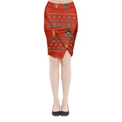 We Wish You A Metroid Christmas Ugly Holiday Christmas Red Background Midi Wrap Pencil Skirt