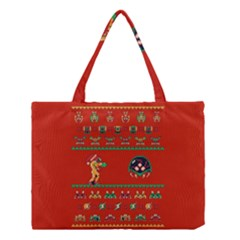 We Wish You A Metroid Christmas Ugly Holiday Christmas Red Background Medium Tote Bag