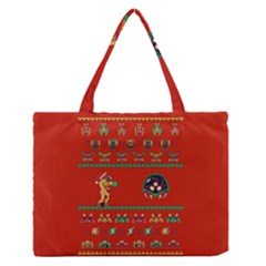 We Wish You A Metroid Christmas Ugly Holiday Christmas Red Background Medium Zipper Tote Bag