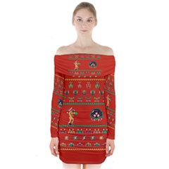 We Wish You A Metroid Christmas Ugly Holiday Christmas Red Background Long Sleeve Off Shoulder Dress