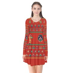 We Wish You A Metroid Christmas Ugly Holiday Christmas Red Background Flare Dress