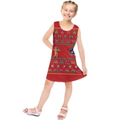 We Wish You A Metroid Christmas Ugly Holiday Christmas Red Background Kids  Tunic Dress