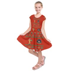 We Wish You A Metroid Christmas Ugly Holiday Christmas Red Background Kids  Short Sleeve Dress