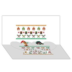 We Wish You A Metroid Christmas Ugly Holiday Christmas Twin Heart Bottom 3d Greeting Card (8x4)