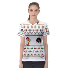 We Wish You A Metroid Christmas Ugly Holiday Christmas Women s Sport Mesh Tee