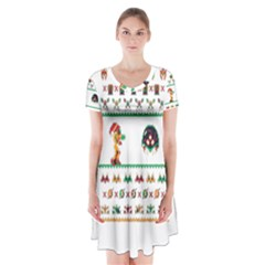 We Wish You A Metroid Christmas Ugly Holiday Christmas Short Sleeve V Neck Flare Dress