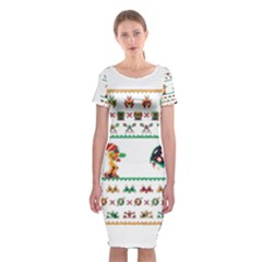 We Wish You A Metroid Christmas Ugly Holiday Christmas Classic Short Sleeve Midi Dress