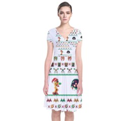 We Wish You A Metroid Christmas Ugly Holiday Christmas Short Sleeve Front Wrap Dress