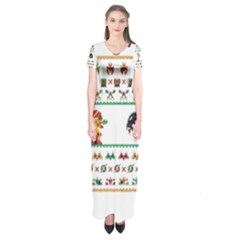 We Wish You A Metroid Christmas Ugly Holiday Christmas Short Sleeve Maxi Dress