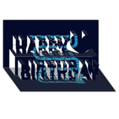 Who Is Outside Ugly Holiday Christmas Blue Background Happy Birthday 3d Greeting Card (8x4)