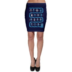 Who Is Outside Ugly Holiday Christmas Blue Background Bodycon Skirt