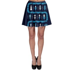 Who Is Outside Ugly Holiday Christmas Blue Background Skater Skirt