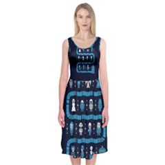 Who Is Outside Ugly Holiday Christmas Blue Background Midi Sleeveless Dress