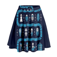 Who Is Outside Ugly Holiday Christmas Blue Background High Waist Skirt