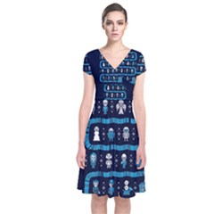 Who Is Outside Ugly Holiday Christmas Blue Background Short Sleeve Front Wrap Dress